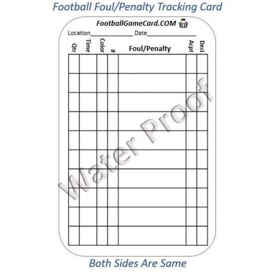 Football Referee Penalty – Reusable Football Referee Penalty Tracking Card