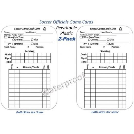 Soccer Referee Game Card - Reusable Soccer Score Cards (2 Pack)